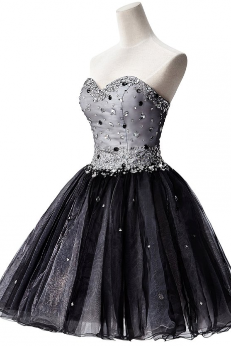 Black Beaded Embellished Sweetheart Short Tulle Homecoming Dress Featuring Lace-Up Back