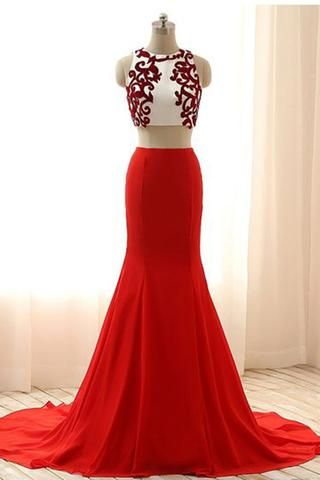 Luxury red chiffon two pieces applique round neck mermaid long dress formal dresses