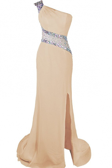 One Shoulder Beaded Prom Dress Evening Party Gowns Side Split