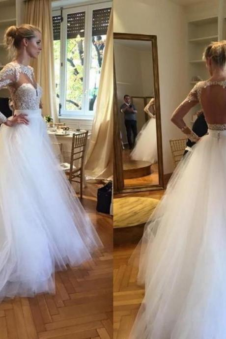A-Line Long Sleeve Open Back Wedding Dress Gorgeous Lace Applique Tulle Bridal Gowns