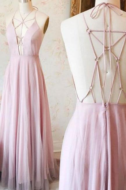 Unique Pink v neck long prom dress, pink evening dress, backless formal dress