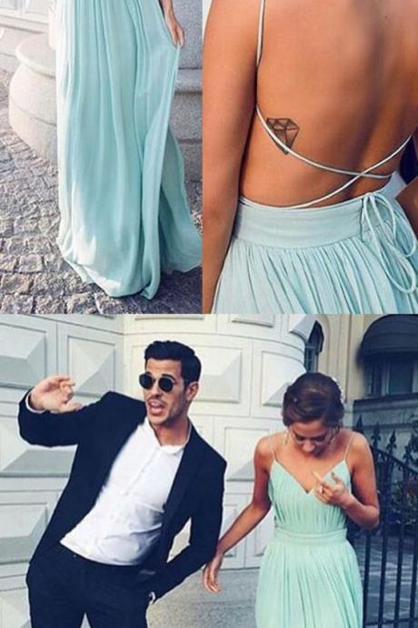 Sexy V-neck Spaghetti Straps Floor-Length Open Back Mint Homecoming Dress