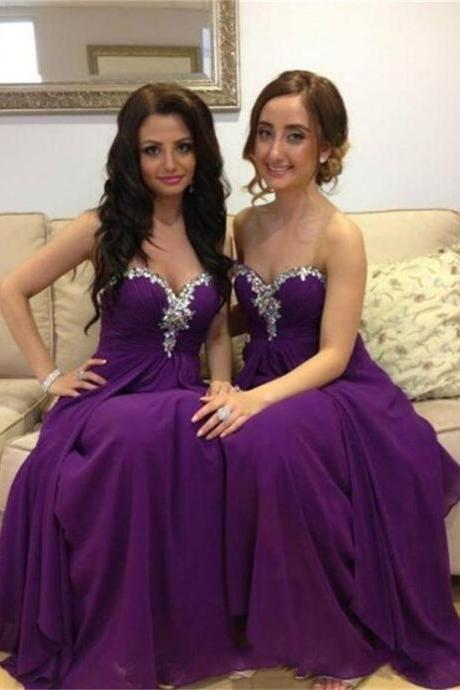 Charming Prom Dress,Chiffon Bridesmaid Dress,Sweetheart Bridesmaid Dress,Beading Evening Dress
