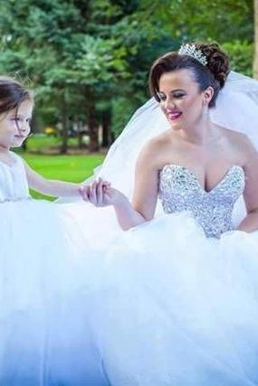 Wedding dress and Flower Girl Dress,Sweetheart Ball Gowns