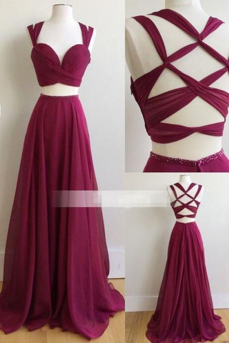 Two Piece Long Prom Dress, 2017 Burgundy Long Prom Dress, Formal Evening Dress