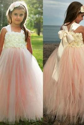 Adorable A-line Pink Tulle Flower Girl Dress with Ribbon
