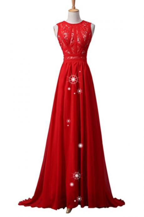 Red Simple Cheap Chiffon Lace Prom Dresses,Handmade Evening Dresses