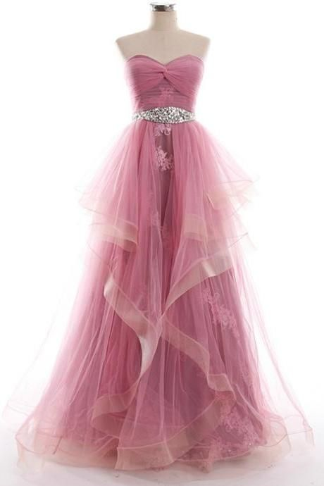 Prom Dresses Sweetheart Neck Tulle Long Dresses with Crystals