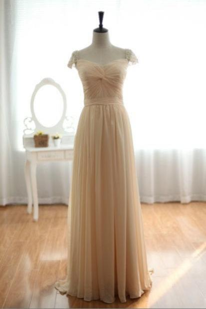 Custom Champagne Chiffon Pearls Beaded Cap sleeve Bridal Wedding Dress Gown Bridesmaid Dress