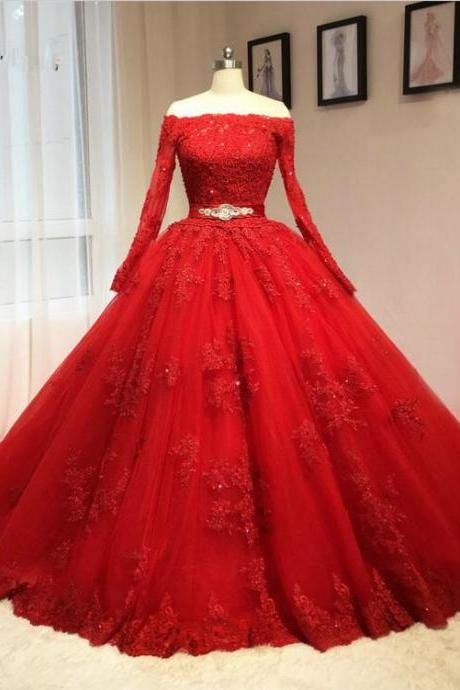 Ball Gown Off Shoulder Long Sleeves Red Lace Wedding Dress
