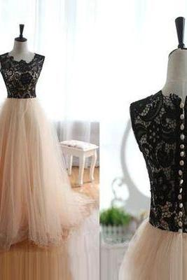Custom Made Black Lace Bodice Tulle Floor Length Gown with Button Back Detailing