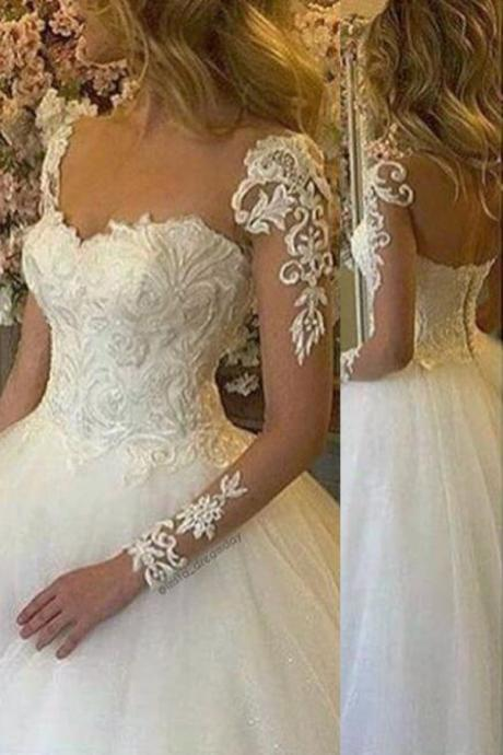 Elegant Jewel Illusion Neck Long Sleeves Ball Gown Wedding Dress with Appliques