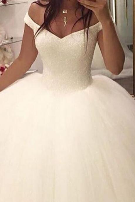 Glamorous Off Shoulder Floor-Legnth Wedding Dress with Sequins