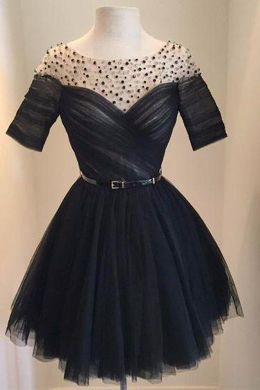 Charming Prom Dresses,Short Cocktail Dress,Black Beaded Tulle Prom