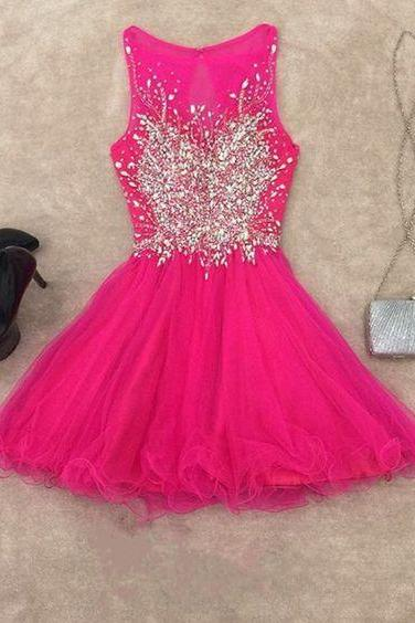Homecoming Dresses,chic prom dresses,short prom gowns,pink homecoming dress