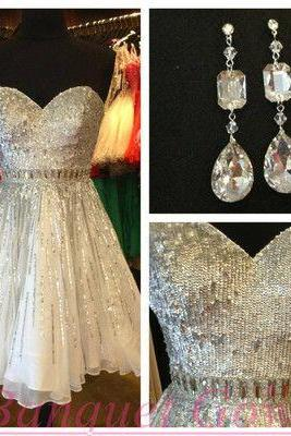 Ivory Homecoming Dresses,Sequin Homecoming Dresses,Chiffon Homecoming Dresses