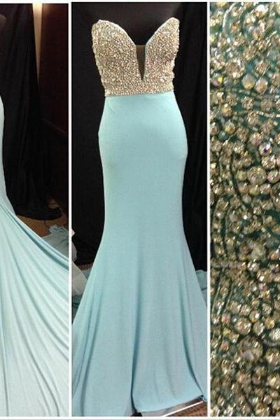 Custom Made Light Blue Sweetheart Neckline Mermaid Evening Dress with Crystal Beading