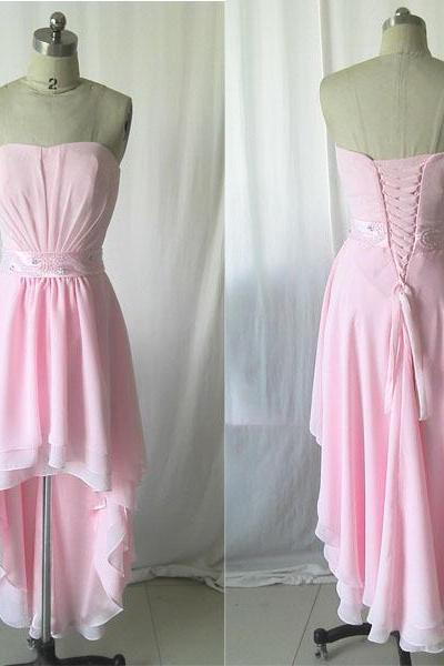 Pink prom dress,Long prom dress,chiffon prom dress,Front Short Back Long Dress