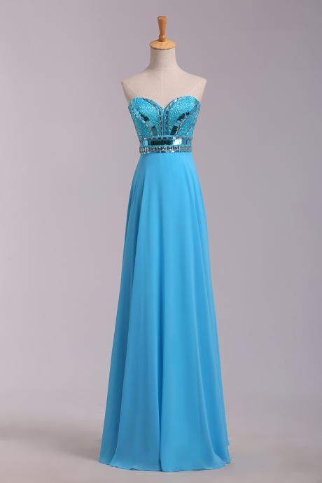 Long Sweetheart Blue Prom Dresses With Rhinestones,Sexy Strapless Chiffon Evening Gowns