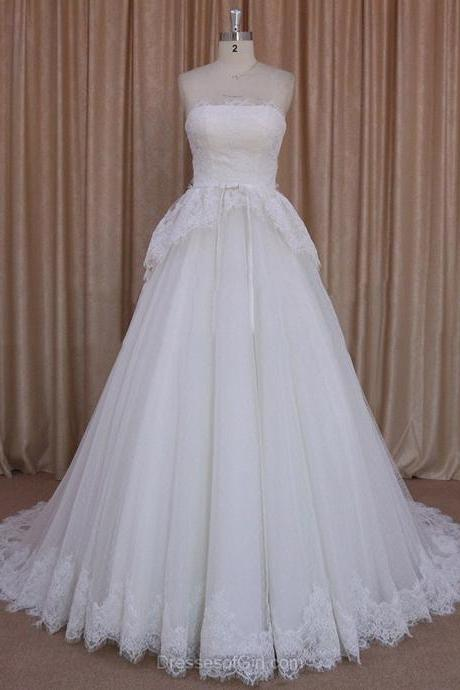 Princess Ivory Lace Tulle Sashes/Ribbons Strapless Pretty Wedding Dresses