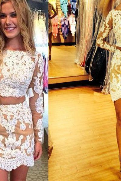 Long sleeve charming lace two pieces tight cheap homecoming prom dresses,