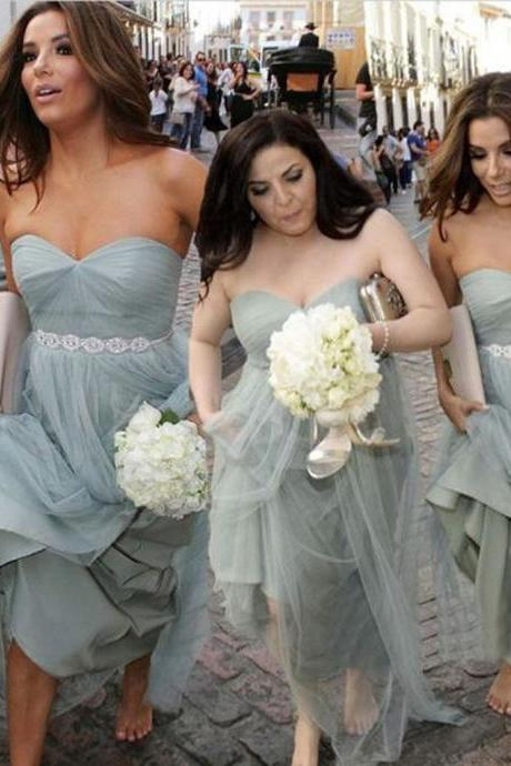 Unique Elegant Sweet Heart Tulle Pretty Women Sleeveless aFashion Inexpensive Long Bridesmaid Dresses