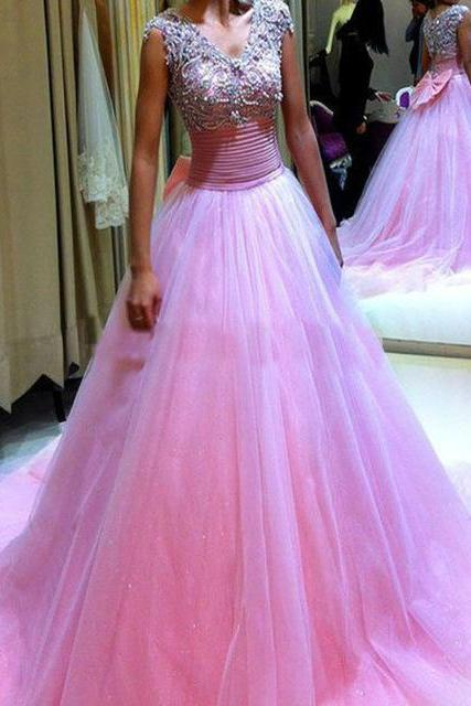 Tulle Pink Evening Dress,Formal Evening Dress,Ball Gown Prom Dress,Long Prom Dresses