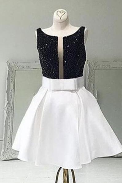 Cute Short White Homecoming Dress,Bateau Beaded Sleeveless Short Prom Dress with Bowknot,A Line V Back Party Dresses