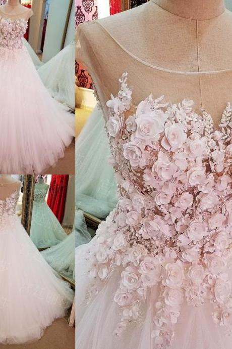Flowers Ball-Gown Lace-Up Luxury Cap-Sleeves Wedding Dress
