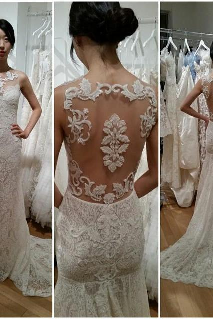 Gorgeous Sleeveless Designer Sweep-Train Lace Mermaid Wedding Dress