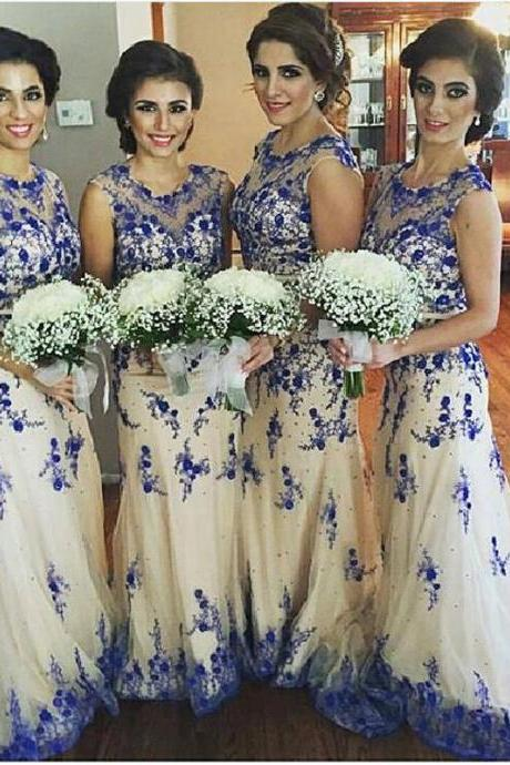 Newest Lace Appliques Illusion Bridesmaid Dress 2017 Sweep Train