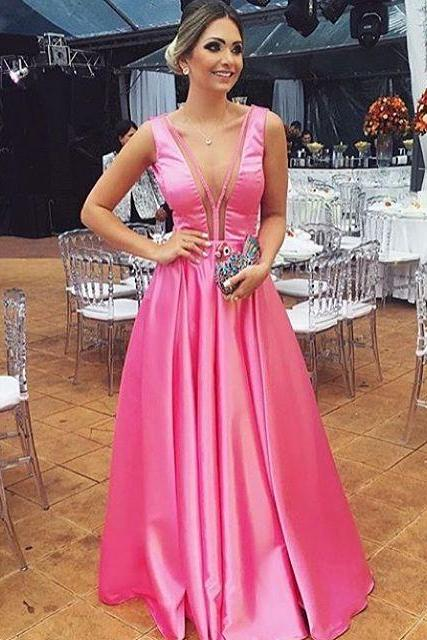 Pink Sleeveless Plunging Neckline A-line Floor-Length Prom Dress, Evening Dress