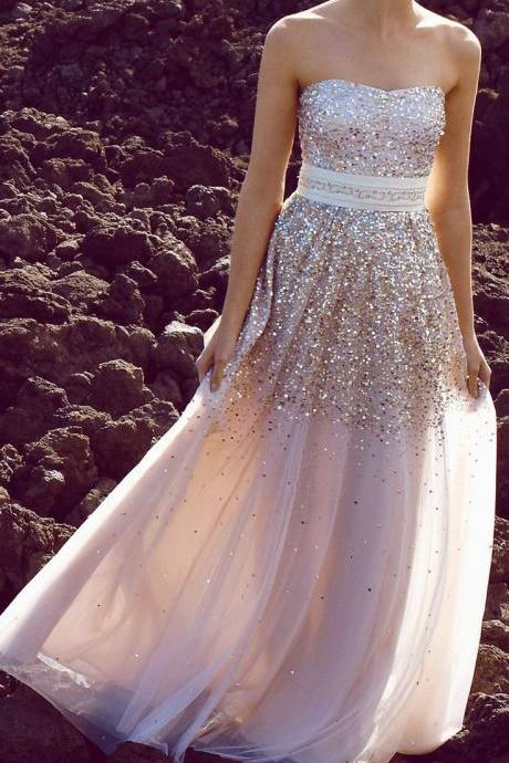 Light sweetheart A line champagne chiffon prom dress long evening dress with sequins,formal party dress,graduation dress