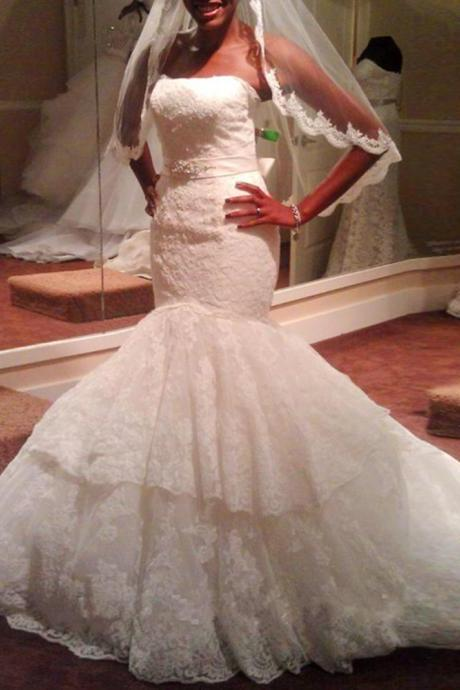 Strapless Mermaid Weddding Dresses Sleeveless Lace Sash Wedding Gowns Women Dresses
