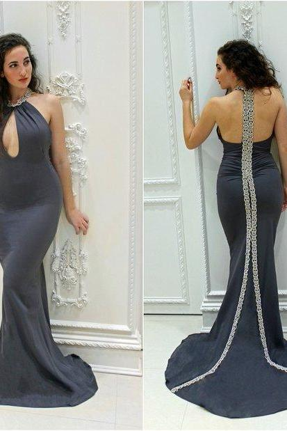 Hot Sale Black Mermaid Cutout Satin Beading Crystals Prom Dresses Evening Dress Party Dresses Formal Gowns,Graduation Dresse