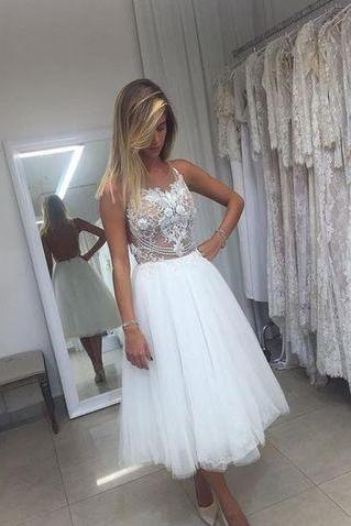 A-Line Tulle Short Wedding Dresses,Wedding Dress,Custom Made Wedding Gown