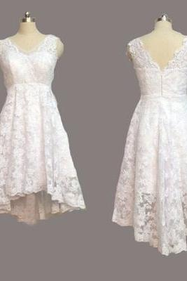 Short Lace Sleeveless Wedding Dresses,Wedding Dress Custom Made Wedding Gown
