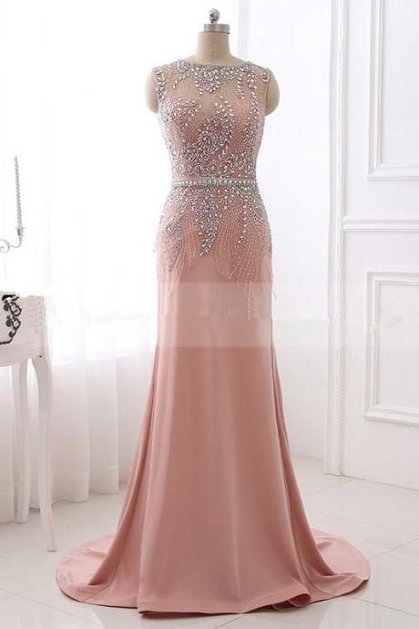 2017 New Arrival Blush Mermaid Heavy Beaded Prom Gowns Evening Dresses