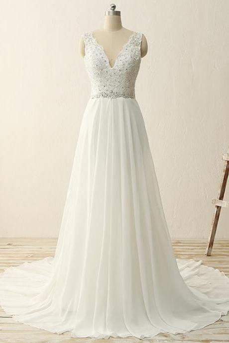 White chiffon V-neck A-line sequins beading long prom dress for teens