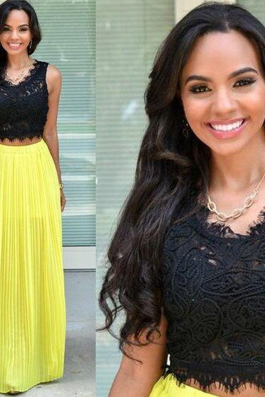 Two Pieces Black Lace Yellow Chiffon Unique Long Prom Dresses
