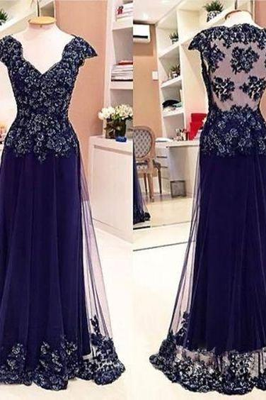 Cap Sleeve See Through Back Elegant Cheap Lace Sexy Long Prom Dresses