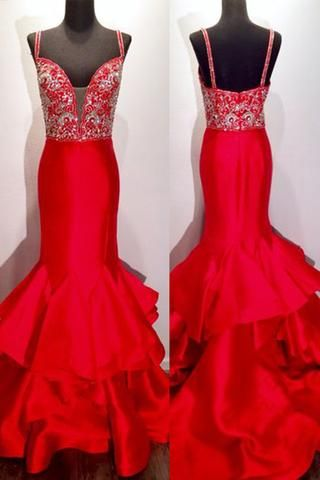 Red satins V neck sequins beaded mermaid long prom dresses, luxury floor-length evening dresses with straps