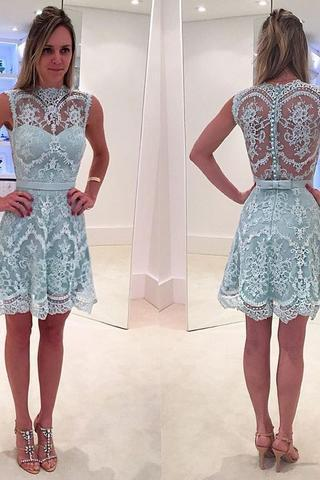 Blue Junior Short Lace Graduation Homecoming Dresses
