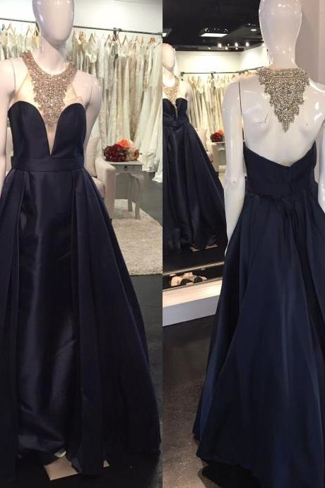 Prom Dresses,Sexy Prom Dress,High Neck Prom Dress, Ball Gown, Black Formal Dresses, Black Satin Prom Gowns