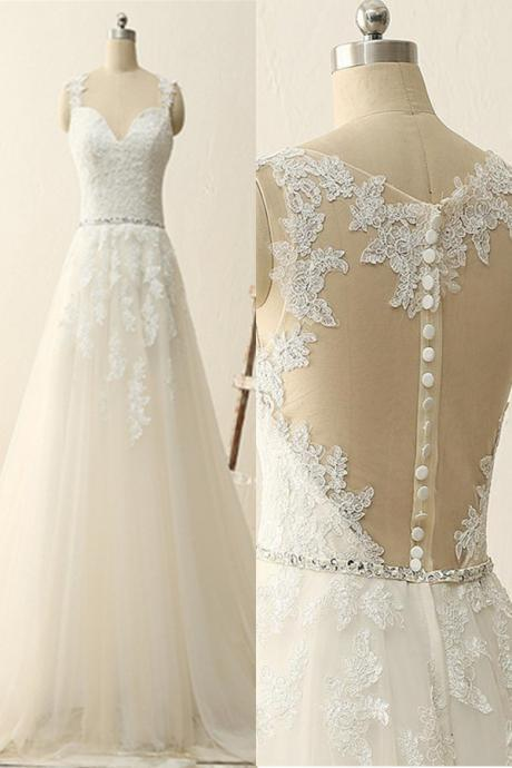 Wedding Dresses,Sexy Fashion Sleeveless Lace Top Wedding Dress,Appliques Wedding Gowns,See Though Bridal Dress,High Quality Wedding Dresses,Wedding Guest Prom Gowns, Formal Occasion Dresses,Formal Dress