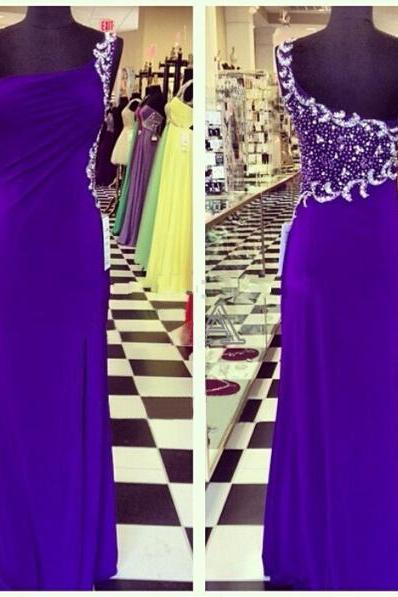 Prom Dresses,Evening Dress,Party Dresses,Prom Gown,Royal Blue Prom Dresses,One Shoulder Evening Gowns,Simple Formal Dresses,One Shoulder Prom Dresses