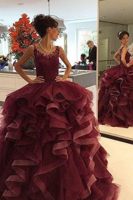 burgundy prom Dress,A-line Prom Dresses,long prom dress,2016 party dress,