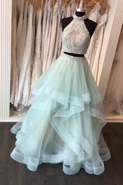 Mint tulle two pieces sequins lace applique high neck A-line prom dressMint tulle two pieces sequins lace applique high neck A-line prom dress