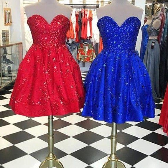 Chic Sweetheart Short Red / Royal Blue Lace-up Homecoming Dress with Beading
