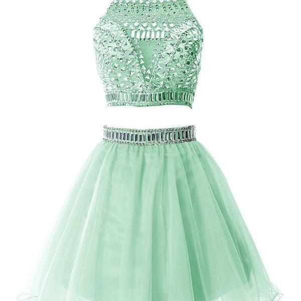Custom Made Mint Green Two-Piece Crystal Embedded Knee-Length Tulle Short Formal Evening Dress, Formal Dress, Weddings, Homecoming Dress